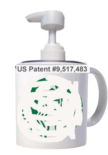60 - Starbucks porcelain coffee mug using my press-on lid soap pump dispenser