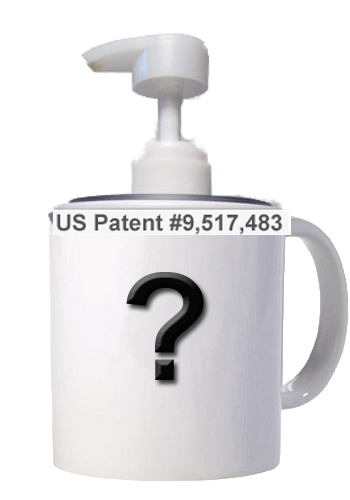 65 - Could be a Vista Print ceramic coffee mug using my press-on lid soap pump dispenser